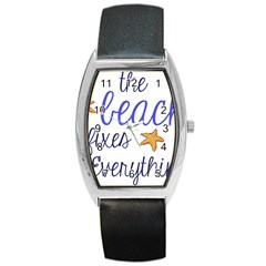 The Beach Fixes Everything Tonneau Leather Watch by OneStopGiftShop
