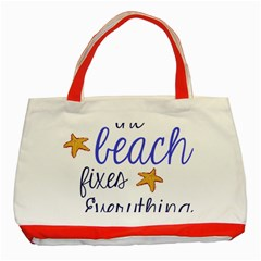 The Beach Fixes Everything Classic Tote Bag (red) by OneStopGiftShop
