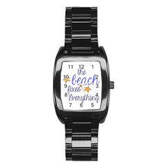 The Beach Fixes Everything Stainless Steel Barrel Watch by OneStopGiftShop
