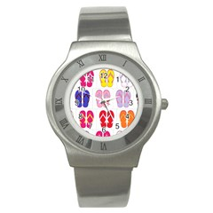 Flip Flop Collage Stainless Steel Watch (slim) by StuffOrSomething