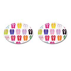 Flip Flop Collage Cufflinks (oval) by StuffOrSomething