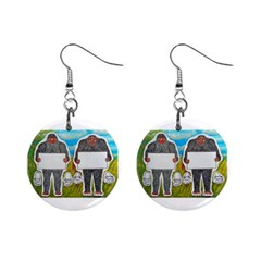 2 Big Foot Text In Everglades Mini Button Earrings