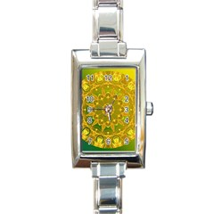 Yellow Green Abstract Wheel Of Fire Rectangular Italian Charm Watch by DianeClancy