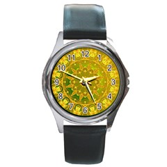 Yellow Green Abstract Wheel Of Fire Round Leather Watch (silver Rim)
