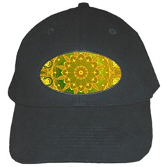 Yellow Green Abstract Wheel Of Fire Black Baseball Cap by DianeClancy