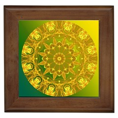 Yellow Green Abstract Wheel Of Fire Framed Ceramic Tile