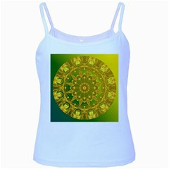 Yellow Green Abstract Wheel Of Fire Baby Blue Spaghetti Tank by DianeClancy