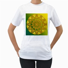Yellow Green Abstract Wheel Of Fire Women s Two Sided T Shirt (white)