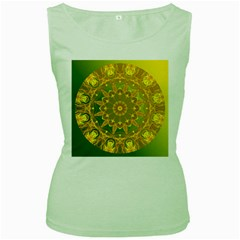 Yellow Green Abstract Wheel Of Fire Women s Tank Top (green) by DianeClancy