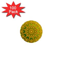 Yellow Green Abstract Wheel Of Fire 1  Mini Button Magnet (100 Pack)