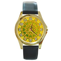 Yellow Green Abstract Wheel Of Fire Round Leather Watch (gold Rim)