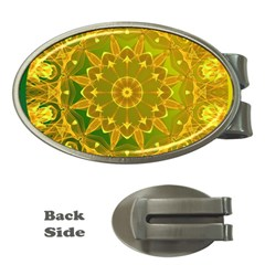 Yellow Green Abstract Wheel Of Fire Money Clip (oval)