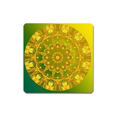 Yellow Green Abstract Wheel Of Fire Magnet (square)