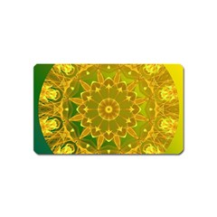 Yellow Green Abstract Wheel Of Fire Magnet (name Card)