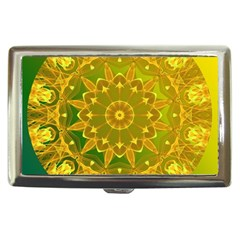 Yellow Green Abstract Wheel Of Fire Cigarette Money Case