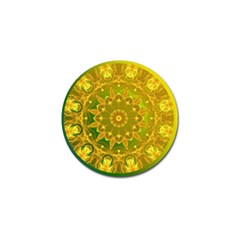 Yellow Green Abstract Wheel Of Fire Golf Ball Marker by DianeClancy