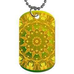 Yellow Green Abstract Wheel Of Fire Dog Tag (two Sided)  by DianeClancy
