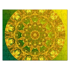 Yellow Green Abstract Wheel Of Fire Jigsaw Puzzle (rectangle) by DianeClancy