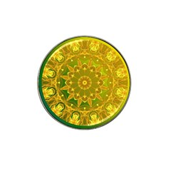 Yellow Green Abstract Wheel Of Fire Golf Ball Marker (for Hat Clip) by DianeClancy