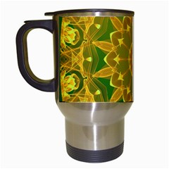 Yellow Green Abstract Wheel Of Fire Travel Mug (white) by DianeClancy