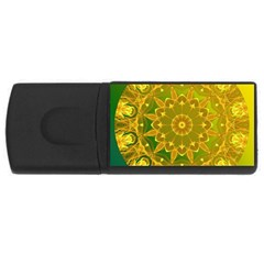 Yellow Green Abstract Wheel Of Fire 4gb Usb Flash Drive (rectangle)