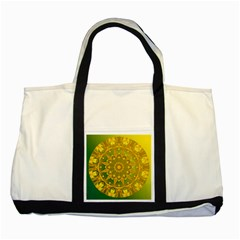 Yellow Green Abstract Wheel Of Fire Two Toned Tote Bag