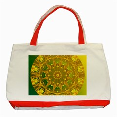 Yellow Green Abstract Wheel Of Fire Classic Tote Bag (red) by DianeClancy