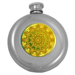 Yellow Green Abstract Wheel Of Fire Hip Flask (round)