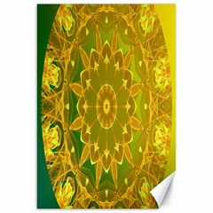 Yellow Green Abstract Wheel Of Fire Canvas 20  X 30  (unframed) by DianeClancy