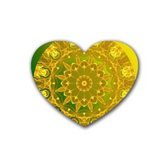 Yellow Green Abstract Wheel Of Fire Drink Coasters 4 Pack (heart)