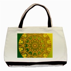 Yellow Green Abstract Wheel Of Fire Twin Sided Black Tote Bag by DianeClancy
