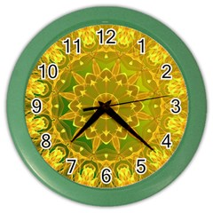 Yellow Green Abstract Wheel Of Fire Wall Clock (color)