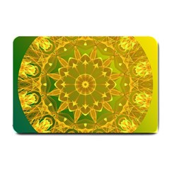 Yellow Green Abstract Wheel Of Fire Small Door Mat by DianeClancy