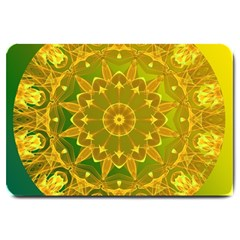 Yellow Green Abstract Wheel Of Fire Large Door Mat by DianeClancy