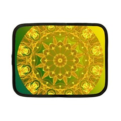 Yellow Green Abstract Wheel Of Fire Netbook Sleeve (small) by DianeClancy