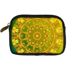 Yellow Green Abstract Wheel Of Fire Digital Camera Leather Case by DianeClancy