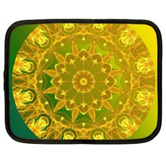 Yellow Green Abstract Wheel Of Fire Netbook Sleeve (xxl)