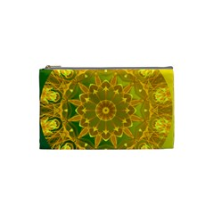 Yellow Green Abstract Wheel Of Fire Cosmetic Bag (small)
