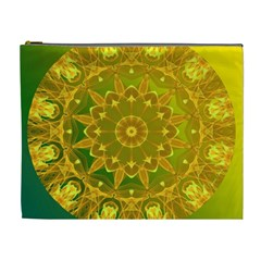 Yellow Green Abstract Wheel Of Fire Cosmetic Bag (xl)
