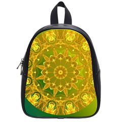 Yellow Green Abstract Wheel Of Fire School Bag (small)