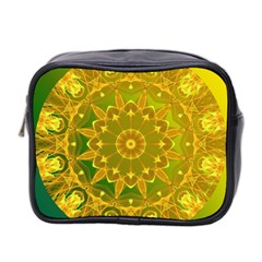 Yellow Green Abstract Wheel Of Fire Mini Travel Toiletry Bag (two Sides)