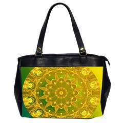 Yellow Green Abstract Wheel Of Fire Oversize Office Handbag (two Sides) by DianeClancy