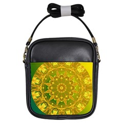 Yellow Green Abstract Wheel Of Fire Girl s Sling Bag