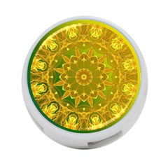 Yellow Green Abstract Wheel Of Fire 4 Port Usb Hub (one Side)