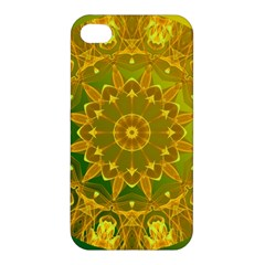 Yellow Green Abstract Wheel Of Fire Apple Iphone 4/4s Hardshell Case by DianeClancy