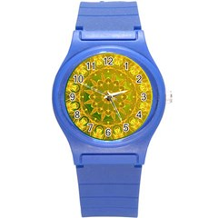 Yellow Green Abstract Wheel Of Fire Plastic Sport Watch (small)