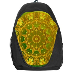 Yellow Green Abstract Wheel Of Fire Backpack Bag by DianeClancy