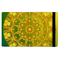 Yellow Green Abstract Wheel Of Fire Apple Ipad 2 Flip Case