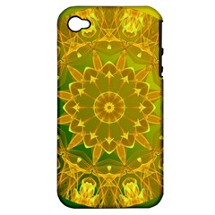 Yellow Green Abstract Wheel Of Fire Apple Iphone 4/4s Hardshell Case (pc+silicone)