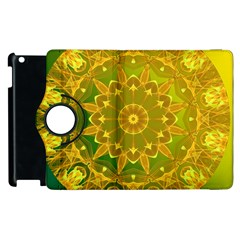 Yellow Green Abstract Wheel Of Fire Apple Ipad 2 Flip 360 Case by DianeClancy